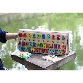 Bảng chữ cái cho bé, bảng chữ ghép vần lớp 1, bảng chữ cái in hoa gồm chứ cái abc, chữ số, hình khối cột tính bậc thang và ký tự đặc biệt.