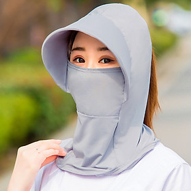 Mũ chống nắng có chìa rộng trùm kín cổ che kín mặt thay khẩu trang vải lanh thoáng mát