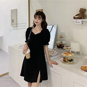 Váy đen xẻ tà 1 bên phong cách Ulzzang Hàn Quốc tay bo chun