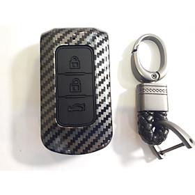 [mitsubishi outlander] Trend: Ốp nhựa carbon lót silicon bọc, bảo vệ chìa khóa cho xe Mitsubishi Xpander, Outlander kèm móc đeo INOX OEM…