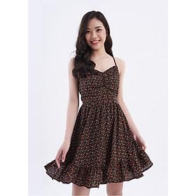 Đầm 2 dây đen nhún ngực Amanda Black Dress Maybi