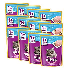 Combo 12 Gói Thức Ăn Cho Mèo Lớn Whiskas Vị Cá Biển (85g)
