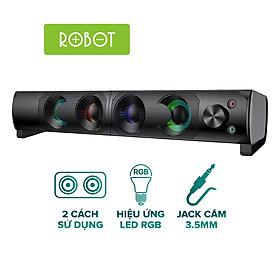 Loa thanh SOUNDBAR Kiểu dáng gaming ROBOT RS300 Hiệu ứng LED RGB Công suất lớn 6W - Hàng Chính Hãng