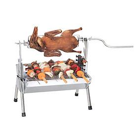 Bếp nướng than hoa xoay tay. Nướng đa năng, nướng vỉ, nướng tự xoay.  GeLife024. Chất liệu Inox