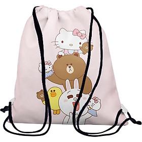 Túi Rút Unisex In Hình Line Friends Và Hello Kitty BDCT614