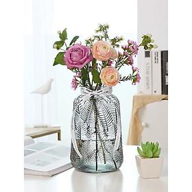 Bình hoa, Lọ hoa thủy tinh xám cao cấp