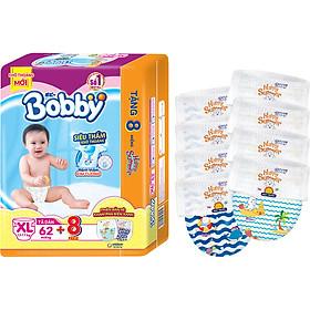 Tã dán Bobby siêu thấm - khô thoáng XL62 [Tặng 8 Miếng Phiên Bản Hè Giới Hạn]-0