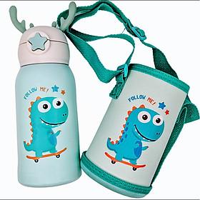 Bình giữ nhiệt cho bé có ống hút, 2 nắp tiện lợi, chất liệu thép không gỉ inox 316 cao cấp, an toàn tuyệt đối, dung tích 600ml
