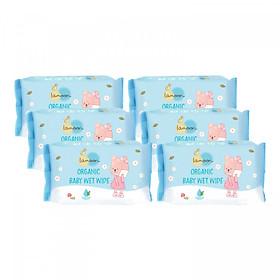 Combo 6 bịch khăn ướt du lịch Organic cho bé Lamoon - Loại 20 miếng