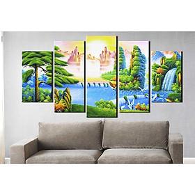 Bộ 5 tranh canvas treo tường phong cảnh thiên nhiên trước hoàng hôn - B5T045