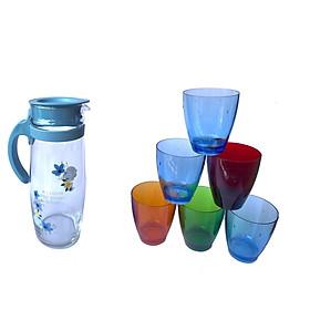 Bộ bình thủy tinh chịu nhiệt, 6 ly nhựa acrylic kiểu dáng sang trọng - Hàng Việt Nam chất lượng cao