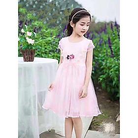 Đầm voan hồng cánh tiên cài hoa cực xinh cho bé gái 4-9 tuổi từ 16 đến 28 kg 04034