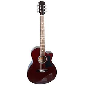 Đàn guitar acoustic DT70 có ty màu nâu đất Chất âm thanh vang tốt Dáng D có khuyết Action thấp Dành cho bạn mới tập đàn guitar
