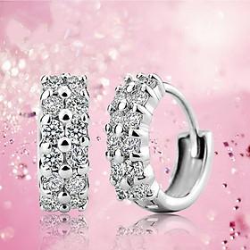 Bông tai thời trang nữ vòng tròn đính đá HT158
