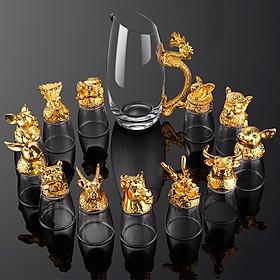 Bộ cốc chén rượu thủy tinh 12 con giáp có hộp đựng