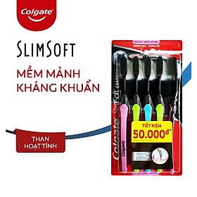 Bộ 5 Bàn chải đánh răng Colgate than hoạt tính kháng khuẩn SlimSoft Charcoal mềm mảnh