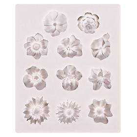 Mini Flower Shape Silicone Mold DIY Fondant Cake Decorating Tools Chocolate Gumpaste Mold Specification:gray