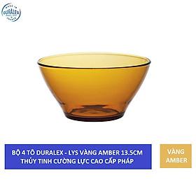 Bộ 4 tô D2004D Duralex - Lys Vàng Amber 13.6cm Thủy tinh cường lực cao cấp Pháp