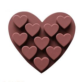 Khuôn silicon làm thạch, rau câu, socola, kẹo 10 hình trái tim