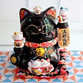 """Mèo Thần tài Jinshi Đen 20cm """"Thành Tựu Mãn Nguyện"""""""