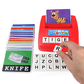 Matching Letter Game Alphabet Word Spelling and Recognition with 26pcs Capital Letter Blocks 30pcs Word Cards Preschool