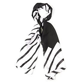 Khăn Choàng Cổ Lụa Màu Trắng Phối Sọc Đen - Silk - 180x90cm - Mã KS007