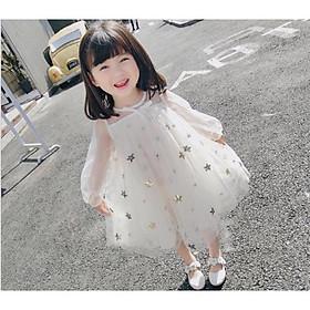 Váy công chúa tay voan lưới thêu ngôi sao cho bé gái dễ thương