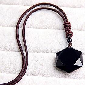 Dây Chuyền Vòng Đeo May Mắn Hình Lục Giác Vòng Đeo Đá Hexagram Obsidian