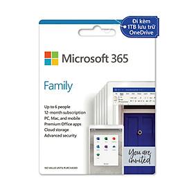 Phần mềm Microsoft 365 Family English APAC EM Subscr 1YR Medialess P6 (6GQ-01144) - Hàng Chính Hãng