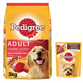 Combo thức ăn cho chó Pedigree 3kg vị thịt bò và rau củ + sốt chó con Pedigree 80g vị bò nướng và rau
