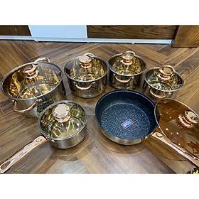 Bộ nồi engelberg 6 món 12 chi tiết Đáy nồi 5 lớp -Dùng được cho tất cả các loại bếp