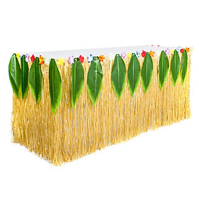 2.75X0.75m Fashion Hawaiian Picnic Leaves Table Skirt for Party Decoration