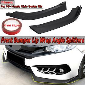 Pair Matte Black Front Bumper Lip Spoiler Wing Canard Diffuser Kit for Honda Civic