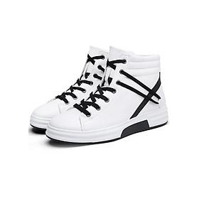 Giày Bốt Nam Tăng Chiều Cao 8cm Dây Đan 8701TR + Tặng 2 Đôi Tất