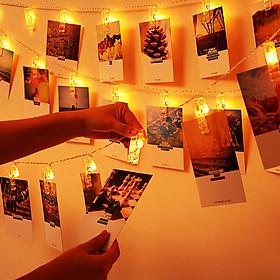 Dây đèn treo ảnh V.1, trang trí treo ảnh độc đáo - Đèn màu vàng