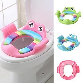 Dụng cụ thu nhỏ bồn cầu chú ếch đáng yêu có chỗ để tay, giúp bé đi vệ sinh sạch sẽ