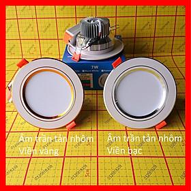 Đèn led âm trần 3 màu, 1 màu, downlight, loại 1 đế nhôm tản nhiệt, loại 2 viền zic zac, loại 3 rọi xoay góc