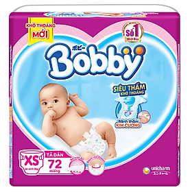 Tã Dán Sơ Sinh Bobby Gói Lớn XS72 (72 Miếng)