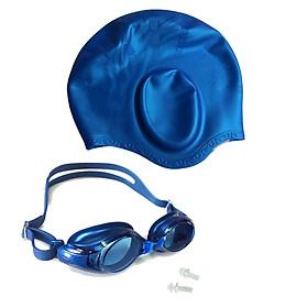 Combo nón bơi mũ bơi bịt tai silicon + Kính bơi Phonex 401 kèm bịt tai (Giao màu ngẫu nhiên)