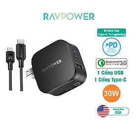 Bộ Củ Sạc PD 3.0 30W 2 Cổng Và Cáp Type-C to Lightning Chứng Nhận MFI RAVPower RP-PC144 Chuyên Cho iPhone, iPad - Hàng Chính Hãng