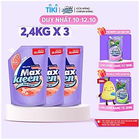 Combo 3 Túi Nước Giặt Xả Maxkleen Hương Hoa Nắng (2.4kg/túi)