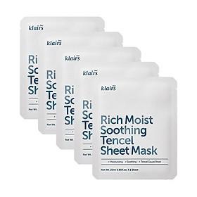 Combo 5 Mặt nạ dưỡng ẩm sâu, làm dịu dành cho da nhạy cảm, kích ứng Klairs Rich Moist Soothing Tencel Sheet Mask 25ml x5