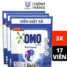 Combo 3 túi viên giặt xả OMO tiện lợi công nghệ Anh Quốc dùng (17 viên/túi): Bền màu