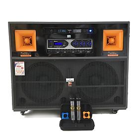 """LOA ĐIỆN CAO CẤP """"PROSING J97"""" karaoke bass 4 tấc đôi  - 2 Treble - Thùng gỗ - Công suất  cực lớn - 2 Micro UHF chỉnh được tần số - Ngoại hình sang trọng - Sản phẩm chính hãng"""