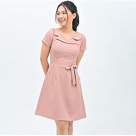 Váy đầm công sở nữ thời trang Eden dáng chữ a cổ phối nút. Kiểu dáng nữ tính. Chất liệu mềm mại, không nhăn - D414
