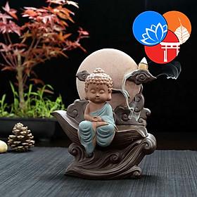 Thác khói trầm hương gốm cao cấp kèm tượng Phật, chú tiểu tọa cung Trăng