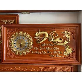 Tranh gỗ đồng hồ chữ Đức 81x41x3