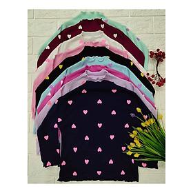Áo phông dài tay cho bé gái họa tiết tim chấm bi (giao màu ngẫu nhiên )