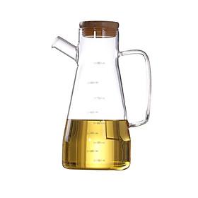 Bình thủy tinh, chai lọ có nắp gỗ, nút silicon Oil Can đựng dầu ăn, giấm, nước tương, nước mắm dung tích 650ml