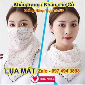 Khẩu trang kiêm khăn che cổ bằng vải lụa mát, chống nắng mặt & cổ mát rượi